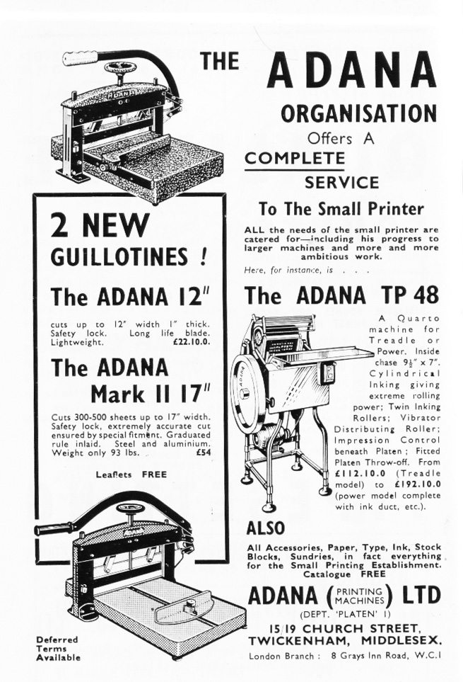 Adana T/P48 and Guillotine Advert