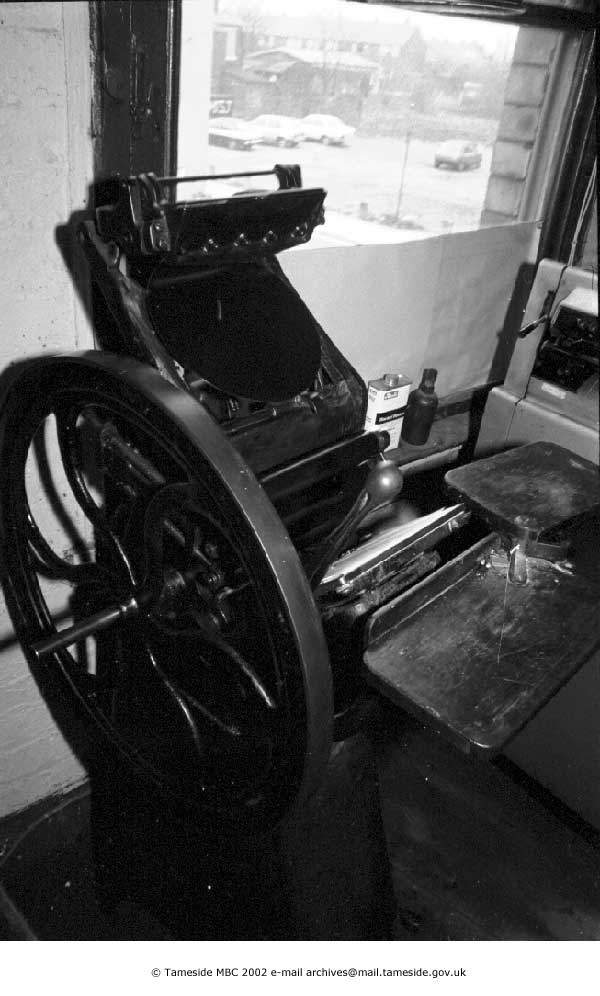 Hand-Fed Platen Press at Greenups Printers (from Tameside Images)
