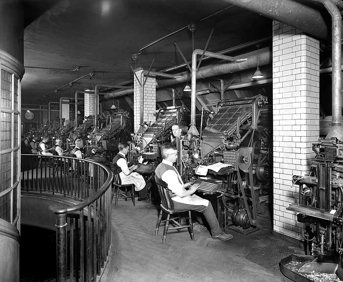 Linotype Machines, Fleet Street (from Heritage Explorer)