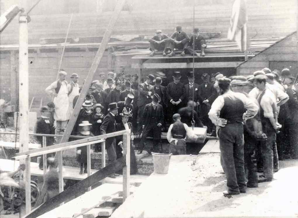 Laying the Foundation Stone at Waverly Printer (from Edinburgh City of Print)